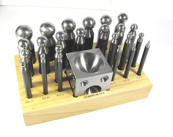 carbon steel 26 piece dapping Doming set, 24 steel dome punches, doming block with wood stand, Excellent quilty