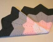 Sale - Baby Blanket, Baby Girl Pink Gray White Star Shaped, Handmade Crochet Afghan