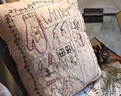 Hand Stitched Winter Sampler Pillow, Snowman, Mitten, Cocoa, Gingerbread, Snowflake