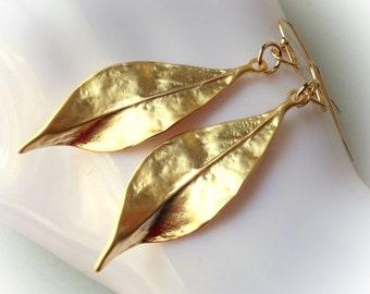 Gold Leaf earrings botanical handmade jewelry gold plated leaves drop dangle earring inspired by nature large big bold women modern elegant