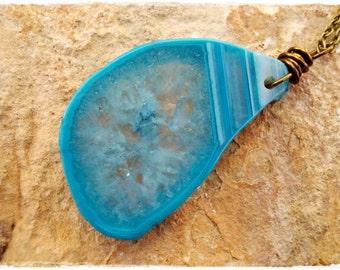 Blue Madagascar Druzy Agate Necklace  - crystal necklace - large stone slice - azure ocean sea deep sky blue stone pendant - antiqued brass