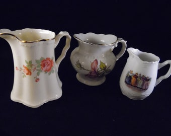 Set of 3 Vintage Well Loved Floral and Dutch Girls Cream Pitchers/Creamers