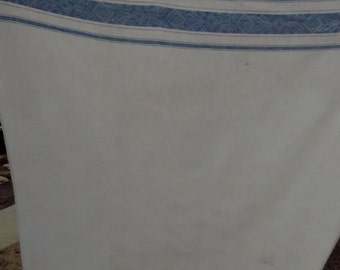 Vintage Blue and White Damask Cutter Tablecloth
