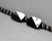Vintage Art Deco Cabochon- Black Onyx, Mother of Pearl Inlay Rounded Rectangle Cab for Jewelry Making