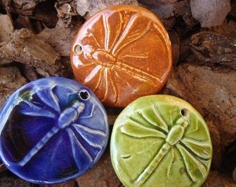 3 Crystal Glazed Dragonfly Stoneware Pendants