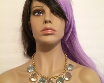 FACETED CHUNKY  gypsy boho style blue baby clear Cluster Necklace  set  gold tone chain acrylic beads