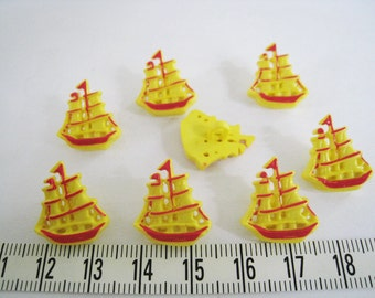 25 pcs of Pirate Ship Shank Button - Red and Yellow
