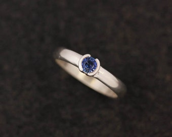 BLUE Sapphire and Sterling Silver Half Bezel Set Engagement Ring, Low Profile  Half Moon Bezel, Ready to Ship Size 9.25