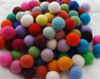 2.5cm / 25mm - 100% Wool Felt Balls - 100 Count - Assorted Colors