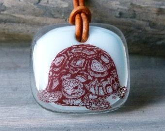 Tortoise necklace - Sepia Fused glass pendant