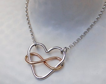 Infinite Love Sterling Silver and Gold Fill Heart Necklace, Heart and Infinity Necklace, Rose Gold and Silver Necklace, Heart Necklace,