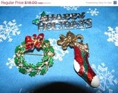 On Sale Now Vintage Christmas Pin Lot, Brooch, 3 Pins, Holly Wreath, Happy Holidays, Christmas Stocking, Rhinestone, Gold, Silver, Christmas