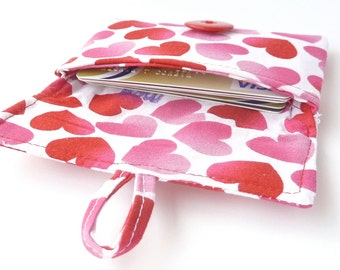 valentines day gift. cute credit card pouch. pink red hearts teen tween fabric card case. business card case pouch. teenager girl