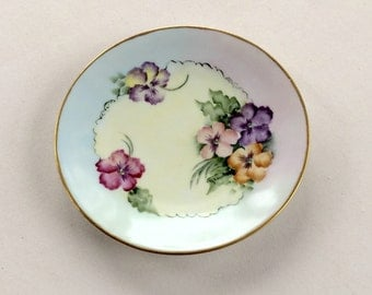Silesia Hand painted German Plate with Violets Signed