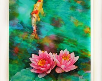 Koi, morning mist, 16x20 inches, mixed media photograph, turquoise art, photography, nature, original, ponds