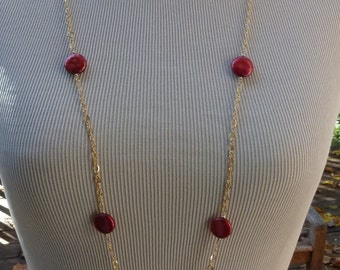 Brilliant Red Coin Pearl Gold Necklace