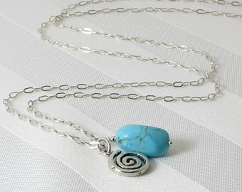 Arizona Turquoise Nugget and Sterling Silver Spiral Pendant
