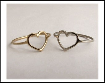 14k Gold Heart Ring - 14k Yellow, White or Rose - 14k Yellow Gold Ready To Ship