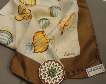 Vintage Echo 27 inch Square Scarf, Seashell diagonal rows design in brown and sage green shades, Made in Japan, Bonus magnetic back brooch