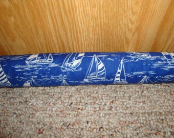 "Door Draft Stopper Filled with Fragrant Balsam - Standard 2"" X 38"" - Sailboats - Made in USA"