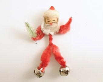 Vintage Christmas Decoration Chenille Santa Claus Bells
