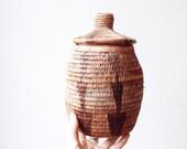 Vintage African Water Basket - earthy, brown, geometric