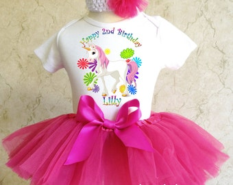 Rainbow Unicorn Horse Pony Pink Birthday Girl Party Tutu Outfit Dress Set Personalized Custom Name Age Shirt 1st 2nd 3rd 4th 5th 6th 7th