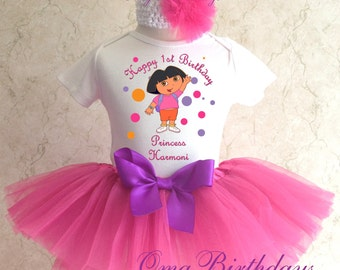 Dora the Explorer Birthday Shirt & Pink Tutu Purple bow Outfit Girl Set first 1st 2nd 3rd 4th 5th 6th 7th Personalized Custom Name Age