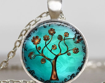 Copper Tree pendant ,Tree of life turquoise blue jewelry , copper tree of life necklace , handmade jewelry, photo pendant