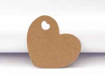 50 pcs Heart Paper Tags Die Cut Tags Gift Tags Wedding Tags Blank Paper Tags Mutli Color  -- Choose your color (PC014)