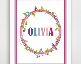 Personalized Children's Wall Art / Nursery Custom Name print by Finny and Zook
