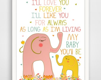 Childrens Wall Art / Nursery Decor /Kids Room I'll Love You Forever QUOTE  print by Finny and Zook