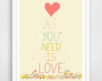 All you need is love, nursery wall art print