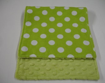Lime Green Medium Dots Baby Burp Cloth with Minky