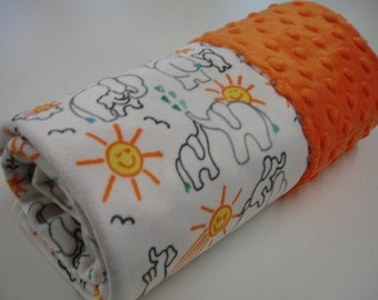 Elephants You Are My Sunshine in White Double Sided Minky Blanket You Choose Size MADE TO ORDER