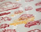 Cars and Trucks Letterpress Print- On Sale