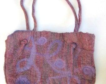 Hand Felted Purse Handbag -  Purple And Mauve