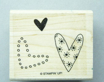 Rubber Stamps, Heart stamp,  3 Hearts, Stampin Up,  Wood Mounted, Romantic stamp, love stamp