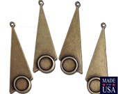 1 Loop Brass Ox Geometric Triangle Pendants with 7mm Setting 39x15mm (4) mtl066H