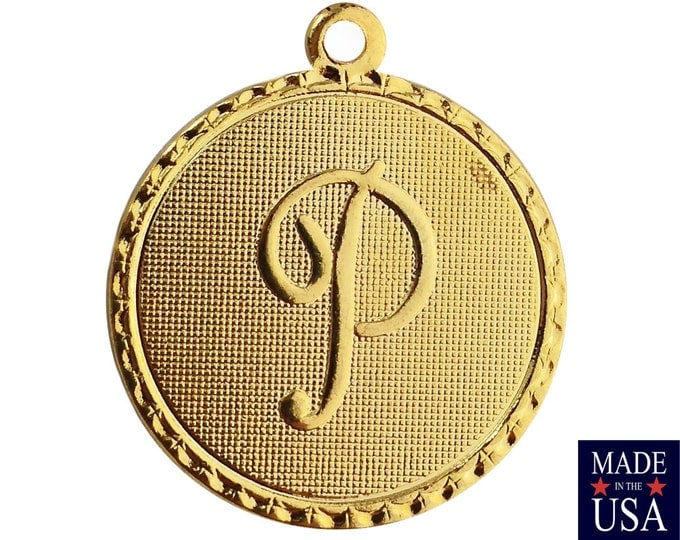 Gold Plated Letter P Initial Charm Drop with Loop (1) chr215P