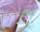 VINTAGE LINGERIE or HANKIE Bag--dates back to the 1930's or 1940's--Ribbon flower on the Front--Lovely