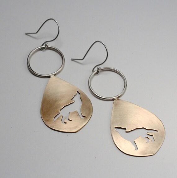 Silhouette Earrings: Wolf Silhouette Teardrop Dangle Earrings In Brass By