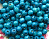 Blue Topaz Wooden Beads - Over 100 - 9mm Glossy Dark Blue Turquoise Wood Beads (WBD0032)