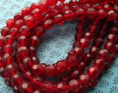 """SALE - Slightly Imperfect Red Faceted Glass Round Beads - Inconsistant Color - 6mm - 275 Beads on Five 12"""" Strands (CBD0085)"""