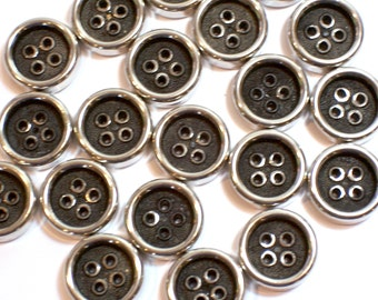 Black Buttons, Silvertone and Black Buttons 7/8 inch x 20 pieces, 4 Hole Buttons, Clothing Buttons