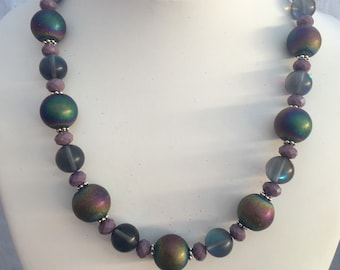 Rainbow Bright Cathedral Glass Necklace