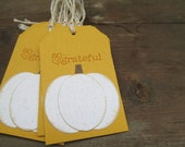 White Pumpkin So Grateful Set of 6 Tags in Mustard Yellow.  Place Setting. Goodie Bag. Fall. Thanksgiving. Shop Hang Tags. Weddings