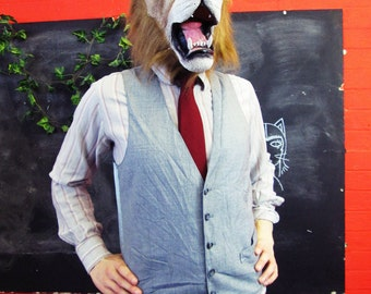 Vintage 1970s Traditional Grey Pinstripe Waistcoat w/ Matching Buttons Medium