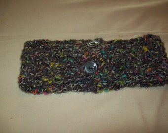Charcoal tweed crocheted neck warmer