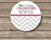 Personalized Stickers, return address, chevron stickers,  christmas card seals set of 12